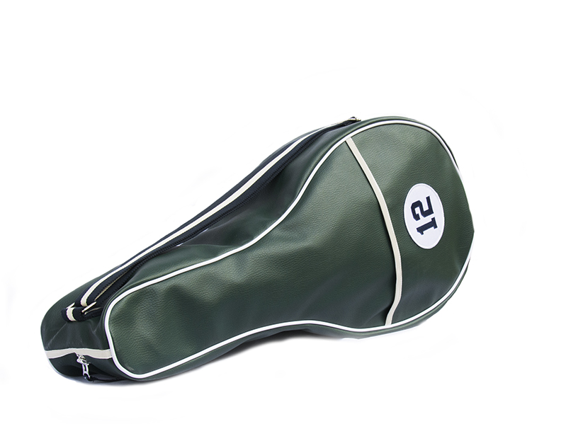 Dark Green Synthetic Leather Tennis Bag